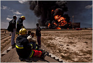 An oil terminal fire in Misurata, Libya, in May.